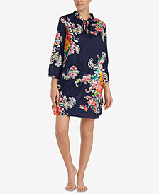 Lauren Ralph Lauren Seaside Classic Printed Neck-Tie Nightgown