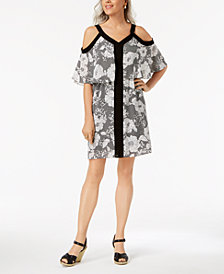 NY Collection Petite Printed Cold-Shoulder Popover Dress
