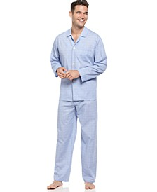 Men's Blue Glenplaid Shirt and Pants Pajama Set