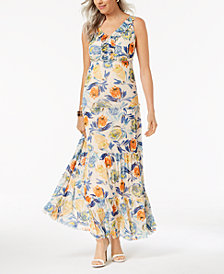 John Paul Richard Petite Printed Tiered Maxi Dress