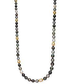 "Cultured Tahitian, Cultured Golden South Sea, & Cultured White South Sea Pearl (8-11mm) Strand 36"" Statement Necklace"