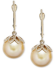 Cultured Golden South Sea Pearl (10mm) Drop Earrings in 14k Gold