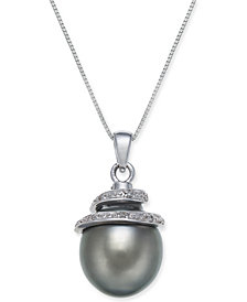 "Cultured Tahitian Black Pearl (12mm) & Diamond Accent Spiral Top 18"" Pendant Necklace in 14k White Gold"