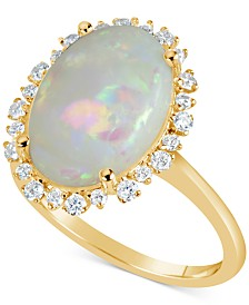 Opal (4 ct. t.w.) & Diamond (1/4 ct. t.w.) Ring in 14k Gold