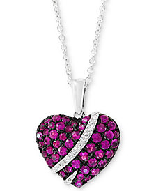 "EFFY® Ruby (3/4 ct. t.w.) & Diamond Accent 18"" Pendant Necklace in 14k White Gold"