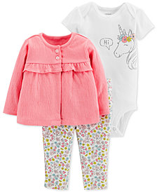 Carter's Baby Girls 3-Pc. Cardigan, Unicorn Bodysuit & Pants Set
