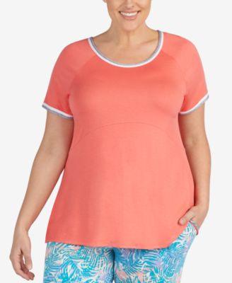 Plus Size Contrast-Trim Pajama Top