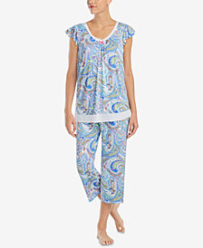 Ellen Tracy Printed Chiffon-Hem Pajama Top & Pajama Pants Sleep Separates