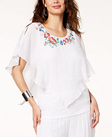 Thalia Sodi Embroidered Asymmetrical Top, Created for Macy's