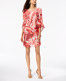 Connected Palm-Print Bell-Sleeve Dress