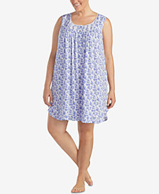 Eileen West Plus Size Lace Ruffle-Hem Knit Nightgown