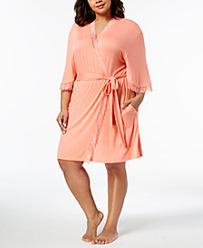 Thalia Sodi Plus Size Lace-Trim Knit Wrap, Created for Macy's