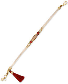 Lucky Brand Gold-Tone Multi-Stone & Tassel Braided Bracelet