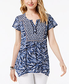 Style & Co Embellished Printed Top, Created for Macy's