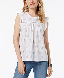 Style & Co Embroidered Crochet-Trim Top, Created for Macy's