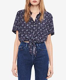 Calvin Klein Jeans Floral-Print Tie-Front Shirt