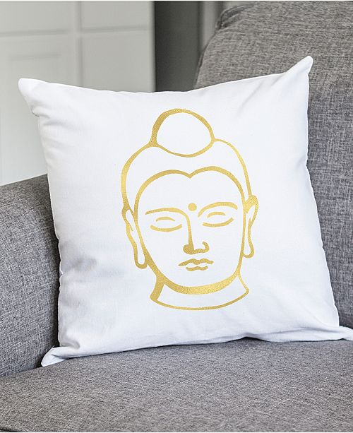 Cathy's Concepts Gold MetallicPrint Buddha 40 Square Decorative Classy Buddha Decorative Pillows