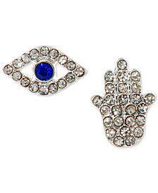 lonna & lilly Silver-Tone Crystal Evil Eye & Hamsa Mismatch Stud Earrings