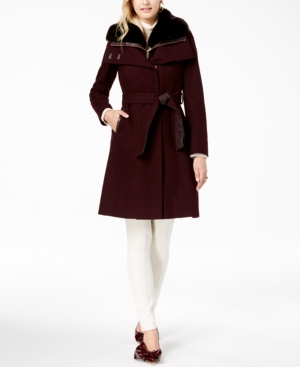 French Connection Faux Fur Collar Belted Wool Coat With Bib In Wine