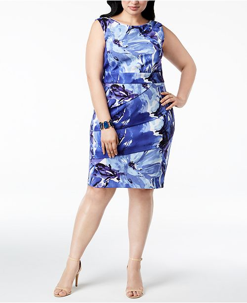 Connected Plus Size Floral-Print Tiered Dress & Reviews - Dresses ...