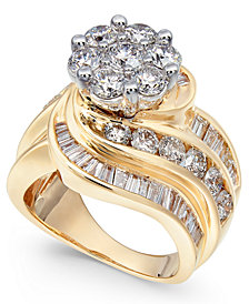 Diamond Cluster Swirl Ring (4 ct. t.w.) in 14k Gold