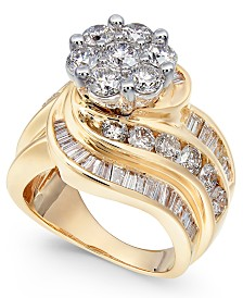 Diamond Cluster Swirl Ring (4 ct. t.w.) in 14k Gold