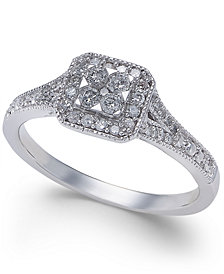 Diamond Cushion-Cut Halo Promise Ring (1/4 ct. t.w.) in 10k White Gold