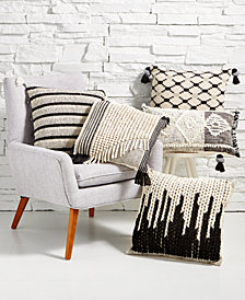 Oxford Collection Black & Cream Hand-Woven Decorative Pillow Collection, Created for Macy's