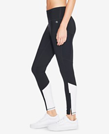 Champion Double Dry™ Mesh-Inset Zip Ankle Leggings