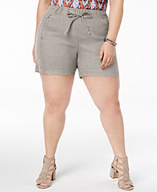 I.N.C. Plus Size Drawstring Shorts, Created for Macy's