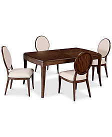 CLOSEOUT! Delfina Dining Furniture, 5-Pc. Set (Expandable Leg Dining Table & 4 Side Chairs), Created for Macy's