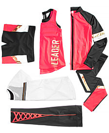 Ideology Big Girls Zip-Up Jacket, Mesh T-Shirt, Layered-Look Tank Top, Compression Shorts & Leggings, Created for Macy's