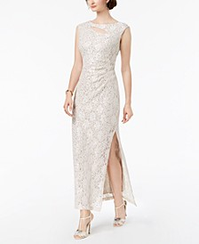 Cutout Sequined Lace Gown