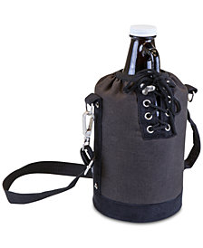 Picnic Time Insulated Gray & Black Growler Tote with 64-Oz. Amber Glass Growler