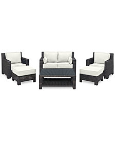 Viewport Outdoor Wicker 6-Pc. Seating Set (1 Loveseat, 2 Club Chairs, 2 Ottomans & 1 Coffee Table) with Custom Sunbrella® Colors, Created for Macy's