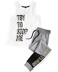 Ideology Big Girls Plus Graphic-Print Tank Top & Jogger Pants, Created for Macy's