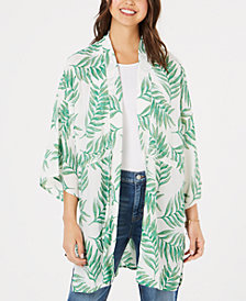 Say What? Juniors' Tropical-Print Kimono
