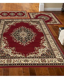 KM Home Stadio Kerman Red 3-Pc. Rug Set