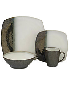 Sango Metallics Black 16-Pc. Dinnerware Set, Service for 4