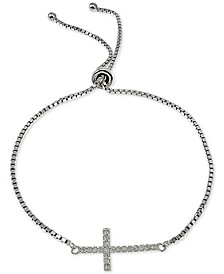 Cubic Zirconia East West Cross Slider Bracelet in Sterling Silver, Created for Macy's