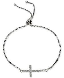 Cubic Zirconia East West Cross Slider Bracelet in Sterling Silver, Created for Macy's