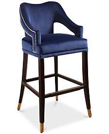 Ivee Velvet Bar Stool, Quick Ship