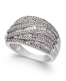 Diamond (1 ct. t.w.) Cluster Statement Ring in Sterling Silver
