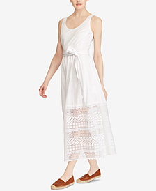 Lauren Ralph Lauren Lace-Trim Poplin Dress