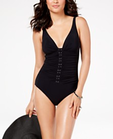 Profile by Gottex Shirred D-Cup Tummy-Control One-Piece Swimsuit