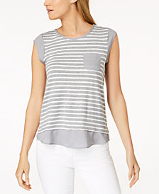 Calvin Klein Striped Contrast Trim Top