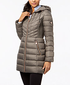 Bernardo Quilted Hooded Packable Puffer Coat