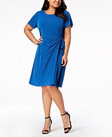 Calvin Klein Plus Size Faux-Wrap Dress