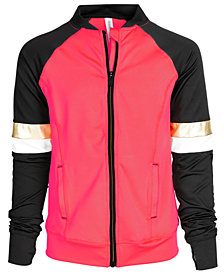 Ideology Big Girls Colorblocked Zip-Up Active Jacket, Created for Macy's