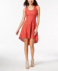 City Studios Juniors' Sleeveless Lace High-Low Dress